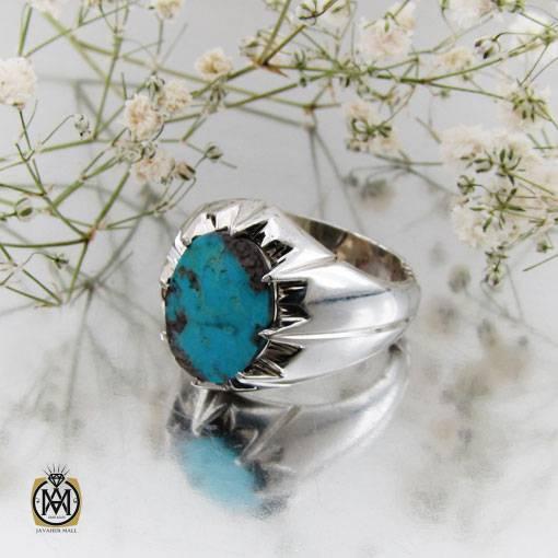 انگشتر فیروزه نیشابوری خوش رنگ مردانه دست ساز – کد ۱۰۹۹۵