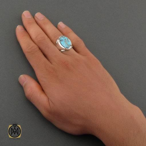انگشتر فیروزه نیشابوری خوش رنگ مردانه دست ساز – کد ۱۱۰۲۰