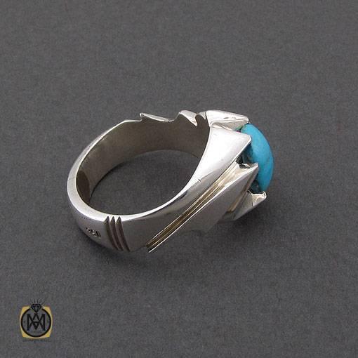 انگشتر فیروزه نیشابوری مرغوب و خوش طبع مردانه دست ساز – کد ۱۱۰۱۶
