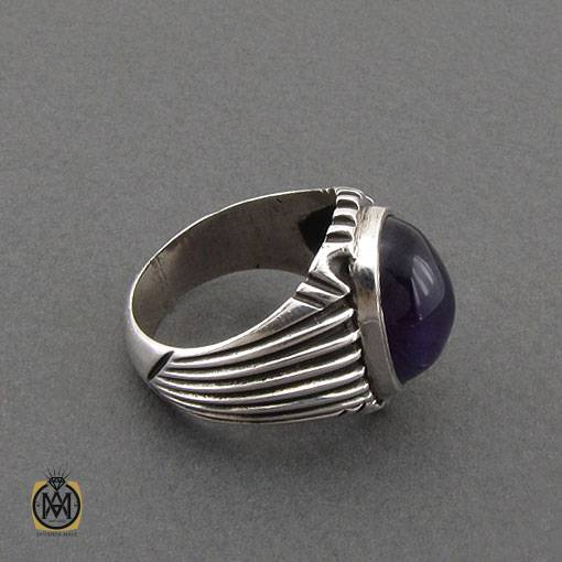انگشتر آمتیست خوش رنگ و مرغوب دست ساز مردانه – کد ۱۱۰۹۴