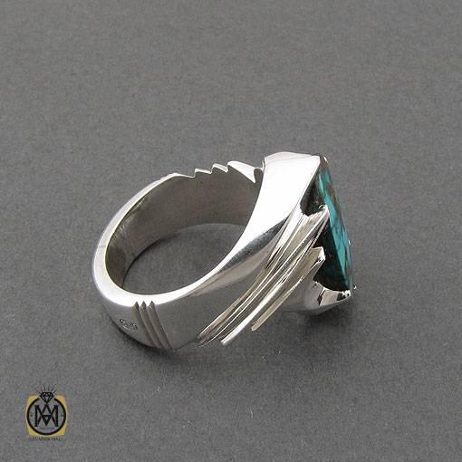 انگشتر فیروزه نیشابوری مرغوب مردانه دست ساز – کد ۱۱۰۱۴