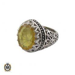 انگشتر یاقوت زرد مردانه دست ساز – کد ۸۹۴۲