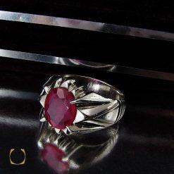 انگشتر یاقوت قرمز مردانه خوش رنگ