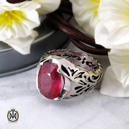 انگشتر یاقوت سرخ مرغوب رکاب دست ساز مردانه – کد ۱۱۱۲۴