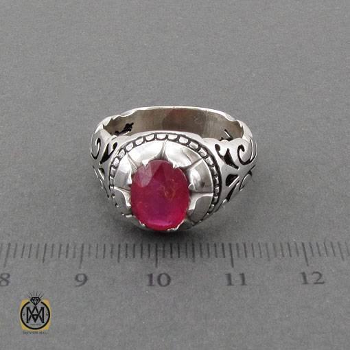 انگشتر یاقوت سرخ خوش رنگ و مرغوب رکاب دست ساز مردانه – کد ۱۱۱۲۷