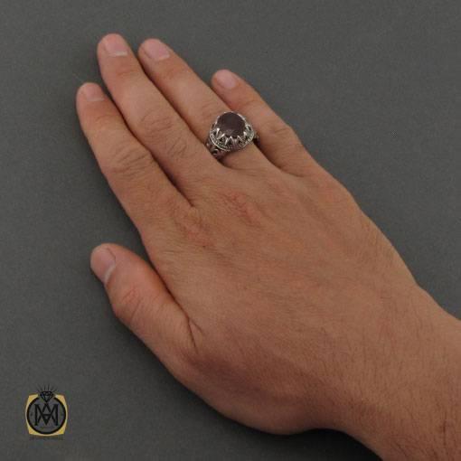 انگشتر یاقوت سرخ مرغوب رکاب دست ساز مردانه – کد ۱۱۱۲۹