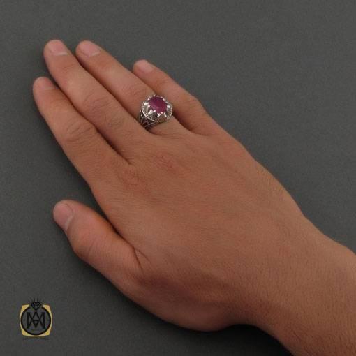 انگشتر یاقوت سرخ خوش رنگ رکاب دست ساز مردانه – کد ۱۱۱۲۲