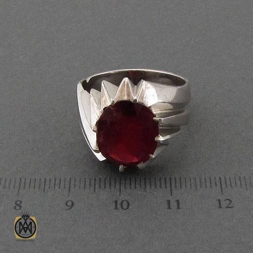 انگشتر یاقوت سرخ خوش رنگ رکاب دست ساز مردانه – کد ۱۱۱۲۱