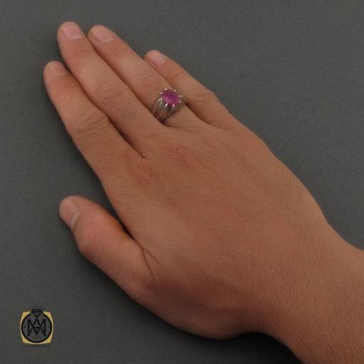 انگشتر یاقوت سرخ خوش رنگ رکاب دست ساز مردانه – کد ۱۱۱۱۹