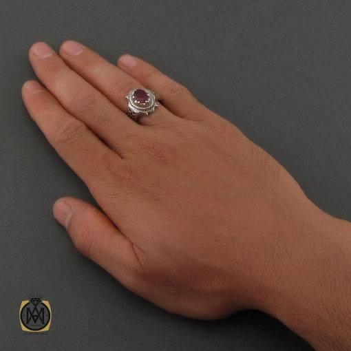 انگشتر یاقوت سرخ مرغوب هنر دست استاد کاخی مردانه – کد ۱۱۱۰۱