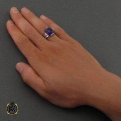 انگشتر نقره و آمتیست مردانه