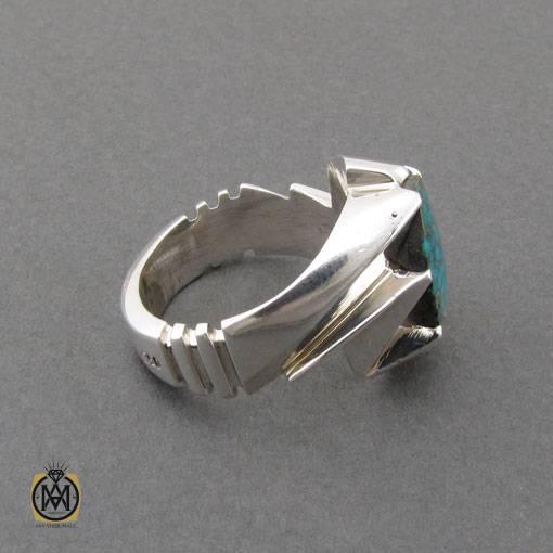 انگشتر فیروزه نیشابوری خوش نقش مرغوب مردانه دست ساز – کد ۱۰۹۹۶
