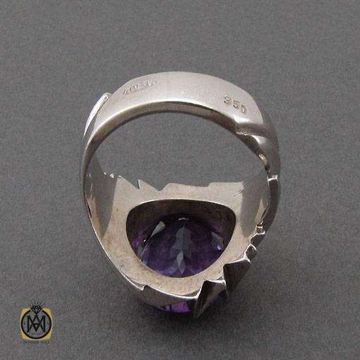 انگشتر آمتیست مرغوب و خوش رنگ دست ساز مردانه – کد ۱۱۰۸۰