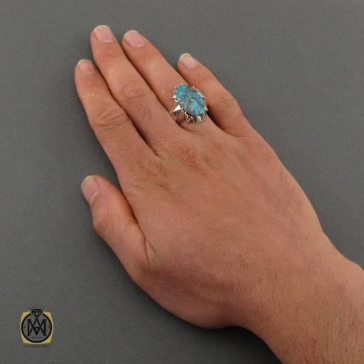 انگشتر فیروزه نیشابوری خوش طرح مردانه دست ساز – کد ۱۱۰۰۱