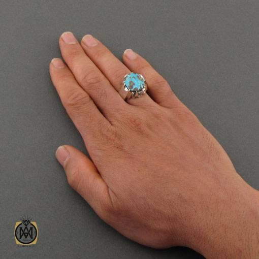 انگشتر فیروزه نیشابوری خوش رنگ و مرغوب مردانه دست ساز – کد ۱۱۰۰۴
