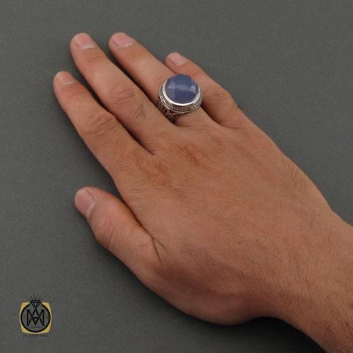 انگشتر عقیق کبود یمن مردانه اصل جواهرمال