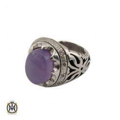 انگشتر عقیق کبود و الماس مردانه اصل