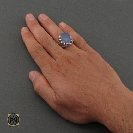 انگشتر عقیق کبود یمن مرغوب و خوش رنگ دست ساز مردانه – کد ۱۱۱۴۷