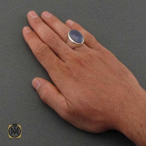 انگشتر عقیق کبود یمن مرغوب و درشت هنر دست استاد محمدی مردانه - کد 11143 - انگشتر عقیق یمن کبود مردانه 3 3