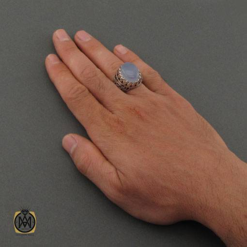 انگشتر عقیق کبود یمن مرغوب و برلیان اصل دست ساز مردانه – کد ۱۱۱۴۴
