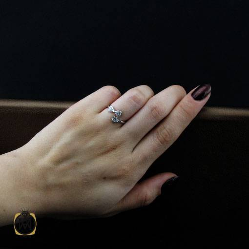 سرویس نقره زنانه طرح تابش - کد 7291 - انگشتر نقره زنانه شیک فری سایز 1