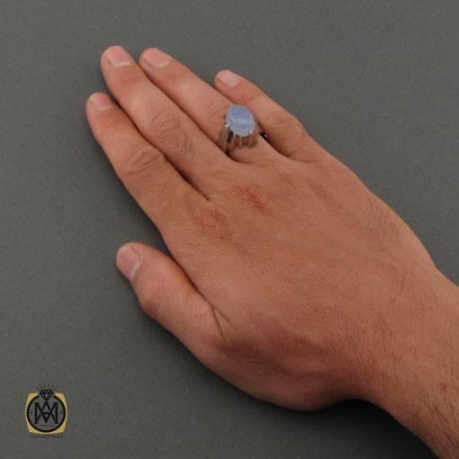 انگشتر عقیق کبود یمن مرغوب الماس تراش دست ساز مردانه – کد ۱۱۱۳۷