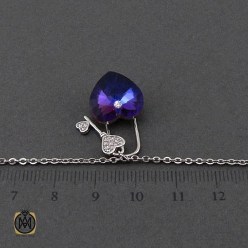 گردنبند نقره زنانه برند سواروسکی طرح قلب و کلید – کد ۳۳۷۰
