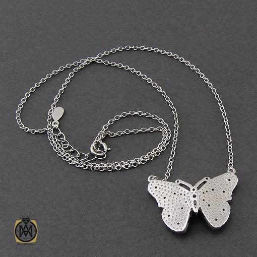 گردنبند نقره طرح پروانه میناکاری زنانه – کد ۳۳۶۲