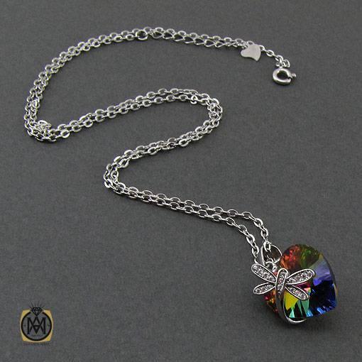 گردنبند نقره زنانه برند سواروسکی طرح دلاویز – کد ۳۳۶۸