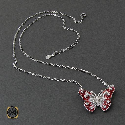 گردنبند نقره زنانه میناکاری طرح پروانه – کد ۳۳۷۵
