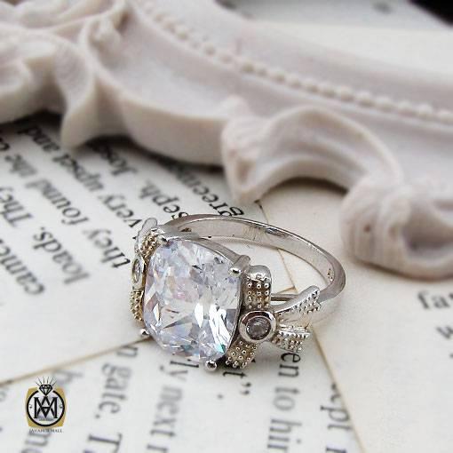 انگشتر نقره سولیتر زنانه طرح تابان