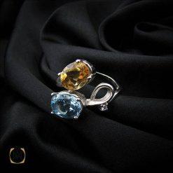 انگشتر توپاز آبی و سیترین زنانه