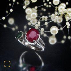 انگشتر یاقوت سرخ و زمرد زنانه اصل