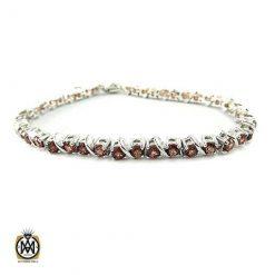 دستبند گارنت زنانه خوش رنگ طرح نیلیا - کد 1214 - دستبند گارنت زنانه جواهرمال 247x247