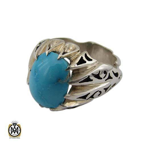 انگشتر فیروزه نیشابوری مردانه خوش رنگ مرغوب