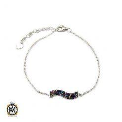 دستبند نقره زنانه طرح موج