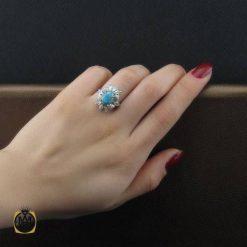 انگشتر فیروزه نیشابوری زنانه طرح هدیه