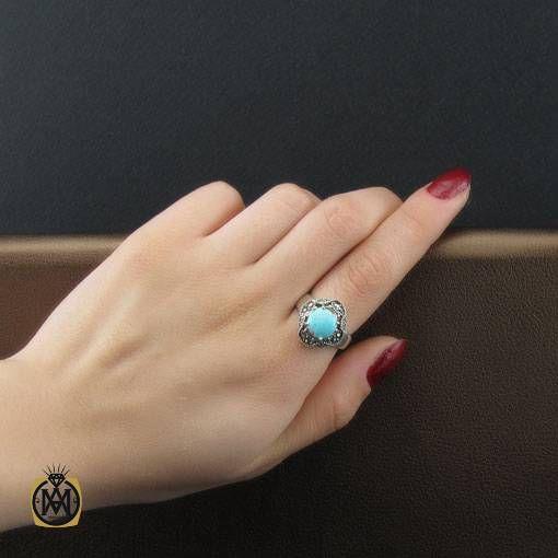انگشتر نقره زنانه فیروزه نیشابور و مارکازیت طرح ساغر - کد 2464 - انگشتر نقره زنانه فیروزه نیشابور و مارکازیت طرح ساغر 1