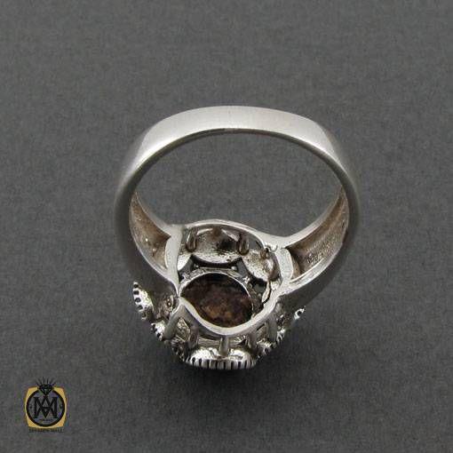 انگشتر نقره زنانه فیروزه نیشابور و مارکازیت طرح ساغر - کد 2464 - جواهرات نقره دخترانه جواهرمال 2