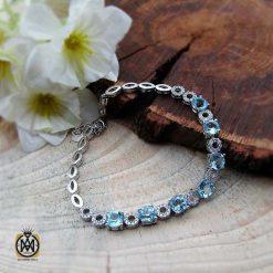 دستبند توپاز آبی زنانه اصل و معدنی طرح آدرینا
