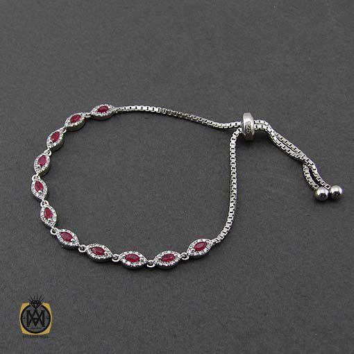 دستبند نقره دخترانه با نگین اصل و معدنی