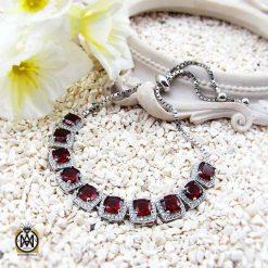 دستبند گارنت زنانه خوش رنگ طرح نیلیا