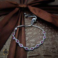 دستبند یاقوت سرخ زنانه خوش رنگ طرح نوژین