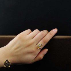 انگشتر نقره زنانه با نگین زرد