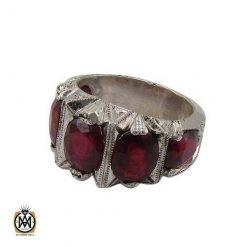 انگشتر یاقوت سرخ پنج نگین مرغوب و خوش رنگ مردانه