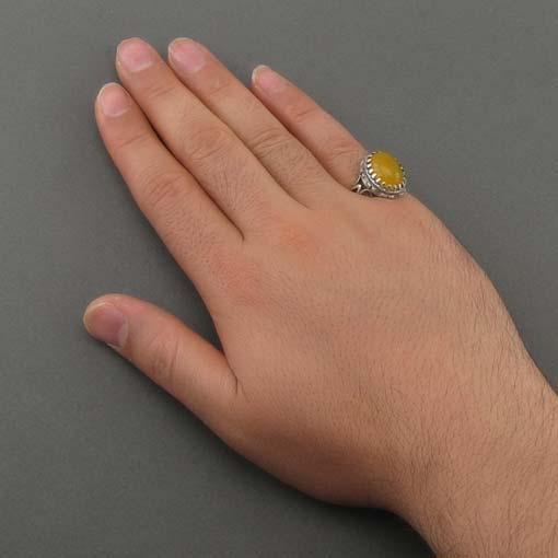 انگشتر مردانه شرف الشمس با نگین عقی زرد اصل