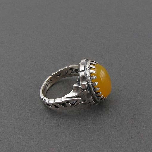 انگشتر نقره اصل مردانه با نگین عقیق زرد