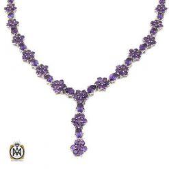 گردنبند نقره با سنگ آمتیست خوش رنگ و معدنی (3)