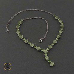 گردنبند نقره با سنگ زبرجد اصل و خوش رنگ (1)