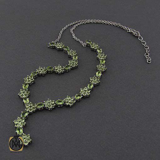 گردنبند نقره با سنگ زبرجد اصل و خوش رنگ (2)
